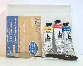 Acrylic Paint Set - Primary Colors Paint - Art Kit - Canvas - Art Supplies - DIY Canvas Art - DIY Wall Art - Artist Gifts - Palette Knife