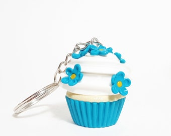 Polymer clay blue flowers cupcake Miniature food keychain Food keychain Cupcake jewelry Miniature flower cupcake Food accessory