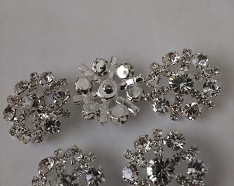 5 Clear Rhinestone Buttons.... ..UK.