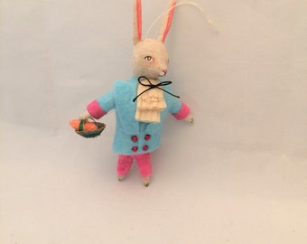 Spun Cotton Dandy Bunny Rabbit with basket feather tree ornament by Maria Paula