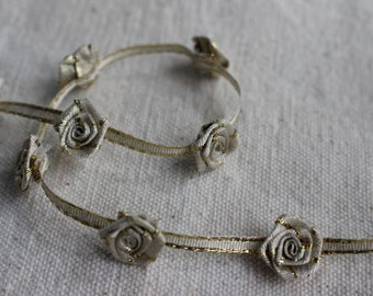 metallic GOLD and OFF WHITE ribbon rosette flower trim