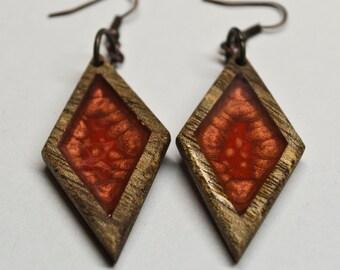 Handmade rhombus earrings