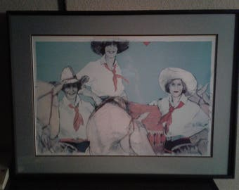 1940's Style Cowgirl/ Horses/Hats/Signed