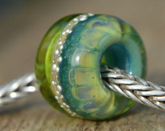 Unique Handmade Lampwork Glass European Charm Bead with Pure Silver - SRA - Fits all charm bracelets - Silver Core Options