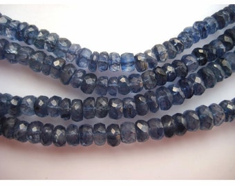 Blue Kyanite Rondelles, Kyanite Beads, Faceted Rondelle Beads, Faceted Kyanite, 3mm To 5mm Each, 18 Inch Strand, 100 Pieces Approx