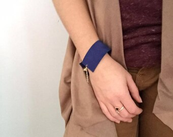 Navy blue leather band bracelet Gena