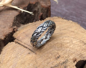 Sterling Silver Ring, Gift for her, Gift for him, Ring for woman, Ring for man, Oxidized silver ring, Braided Ring