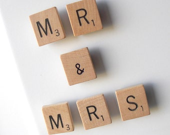 MR & MRS Scrabble Tile Magnet Set with VINTAGE tiles.. Add your own Value Number to the Ampersand.. Genuine Upcycled Game Pieces.. Word Gift