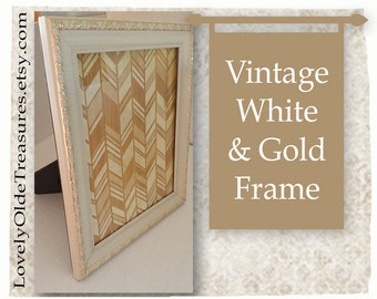 Vintage White Frame with Gold Trim- Standing Frame- Table Frame- Ivory & Gold- Wedding Photo Frame- Wedding Decor- Vintage Home Decor