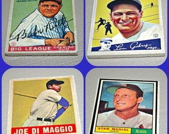 Baseball Cards- Stan Musial - Joe DiMaggio - Babe Ruth - Lou Gehrig - Baseball Gifts -  Baseball Players - Baseball Decor - Tile Coasters