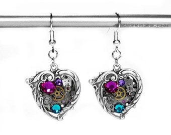 Steampunk Jewelry Earrings Vintage Watch Silver ORNATE HEART Rose Turquoise Crystal Wedding Anniversary Mothers Day - Jewelry by edmdesigns