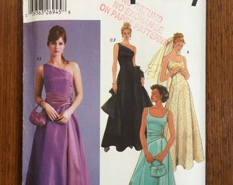 2000's Simplicity 5447 Evening Dress, Purse & Shawl Size 4- 10, Bust 29 1/2- 32 1/2 Sewing Pattern uncut pattern