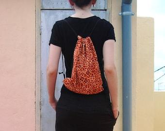 LAST ONE - Giraffe print drawstring backpack