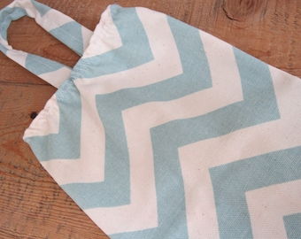 Fabric Plastic Grocery Bag Holder - Modern Chevron - Blue
