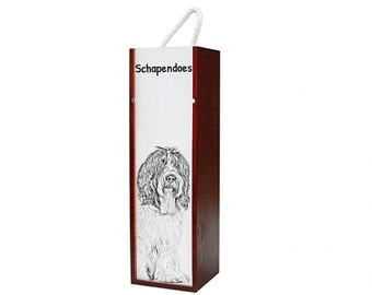 Schapendoes - Wine box with an image of a dog.