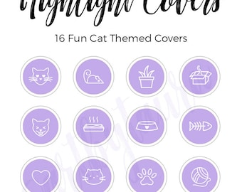 Instagram Highlight Covers | Cat Edition | Purple Highlight Covers | Cat Themed Icons