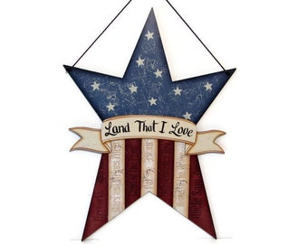 Primitive Star Shaped American Flag,  Handpainted Wood, Hand Painted Americana Decor, Wall Art, Stars and Stripes, Tole Decorative Painting
