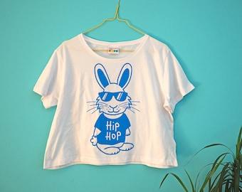 Hip Hop Rabbit T-shirt, Girls Cropped T-shirt, Bunny Tee, Cute Crop Top, Screenprinted Animal T-shirt, Music T-shirt, Funny Women's T-shirt