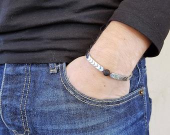Arrow Bracelet, Silver Hematite, Hematite Bracelet, Volcanic rock, Mala Bracelet, Women Mala Bracelet, Beaded Bracelet, Men Mala Bracelet