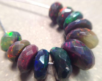 Faceted flashy Ethiopian Welo opals, real opal beads