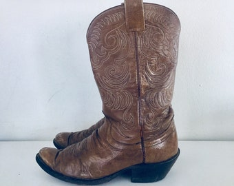 Vintage Cowboy Boots Tan Leather Western Boots Womens Size 9 Mens 7.5 40 41 made in USA by Olathe