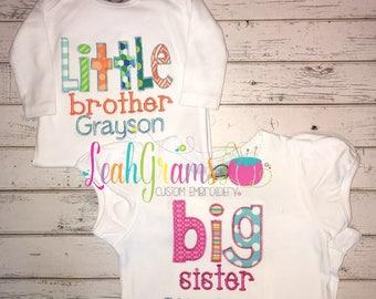 Sibling Applique Shirt- Big Brother Big Sister Little Brother Little Sister- Personalized Shirt and Onesie- Ruffle Shirt- Pregnancy