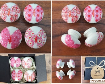 Set of Four Hand Decorated Pine Pink Butterflies and Hearts Drawer Knobs Pulls