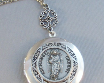 Archangel Gabriel,Necklace,Locket,Silver Locket,Mens,Saint,Medal,Silver,Religious,Religious Jewelry,Religious Necklace,Valleygirldesigns.