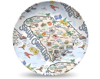 South Carolina Plastic Plate, South Carolina State Map Plastic Plate - High End Plastic