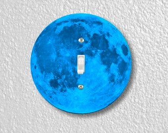 Blue Moon Round Single Toggle Switch Plate Cover