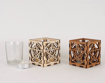 Wooden Tea Light / Votive Candle Holder With Glass insert - with Interlaced Pentacle Design
