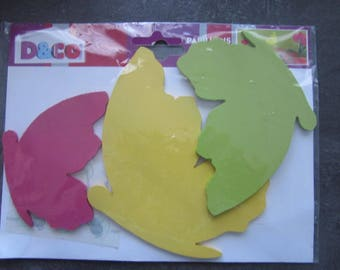 set of 3 butterflies azurés wooden cut - adhesive double sided