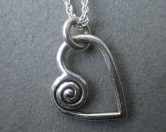 Sterling Silver Asymmetrical Spiral Heart Pendant #PDT31SS