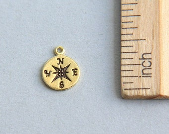 SALE, Compass Charm, 24K Gold plated sterling silver Compass Charm, Gold plated compass, Nautical Charm,Tiny Compass Charm, 10mm ( 1 piece )