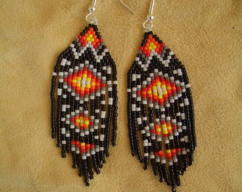 Authentic Native American Beaded Earrings, Traditional design. Hand Made. Southwest. Fringed. Delica beads. Brick Stitch. First Nation, Ndn