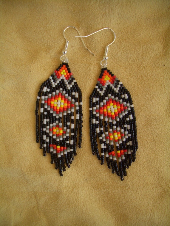 Authentic Native American Beaded Earrings Traditional Design