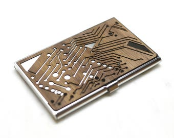 Business card case etsy wood business card case circuit board business card holder computer geek gift colourmoves Gallery
