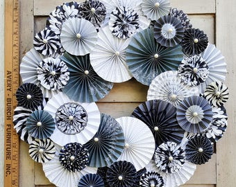 """Choice of 3 - 17"""" Black & White Folded Paper Wreaths"""