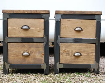 Industrial Bedside Tables with Double Drawers