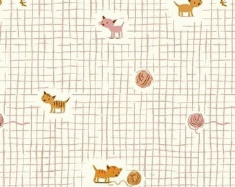 Tiger Lily Fabric by Heather Ross for Windham Fabrics Cats Kittens in A Grid Playing With Yarn on Pink