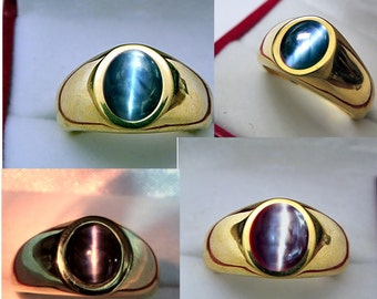 AAAA Alexandrite Cats Eye Color-change Cabochon   8x6mm  2.15 Carats   in Heavy 18K Yellow gold MAN'S ring 20 grams. 2520