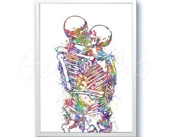 Skeleton Kissing Watercolor Art Print - Skeleton Art- Skeleton Painting - Home Decor - Wall Decor - House Warming Gift