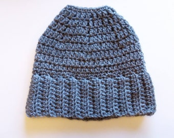 Bun Beanie, Adult Size Crochet Hat