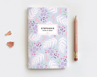 Personalized Mothers Day Gift Floral Journal & Pencil Set, Travel Midori Insert - Hand Drawn Illustrated Leaves Purple Floral Notebook