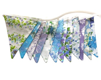 Vintage Retro Pretty Floral Blue / Lilac / Lavender & Green Flag Bunting. HANDMADE . Wall hanging, Birthday Parties, Garden Party, Wedding