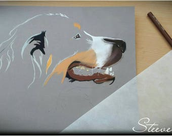 Realization of animal portraits in pastels