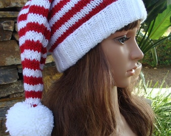 DIY- Knitting PATTERN #55: Ho, Ho, Ho Red and White Striped Santa Hat Pattern, Santa Hat Pattern, Size Teen/Adult  - PDF Digital Pattern