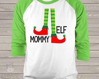 Christmas elf family matching FOUR raglan shirt gift set - great christmas jammie shirts snlc-04-08 LMte3YYN