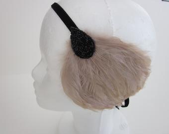 Black 1920s headband, Great Gatsby feather headband, 1920s beige feather headband, petite black beading, elastic stretch velvet, flapper