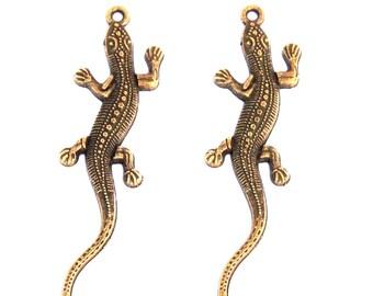 2 salamander lizard serpent dragon animal charm pendant bronze 55x15mm